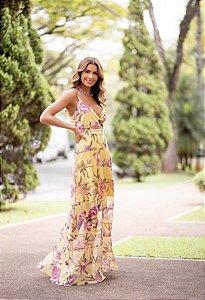 Vestido Longo Flores Amarelo