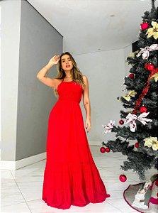 Vestido lastex longo Vermelho