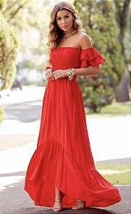 Vestido Longo vermelho Lu