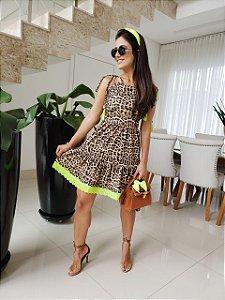 Vestido Onça Neon lima