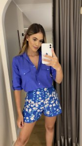 SHORTS AZUL BORDADO