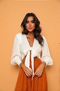 Cropped Camisa Laço Branco