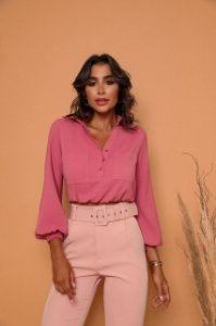 Camisa Cropped Rosa
