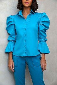 Camisa Tricoline Soraia Azul