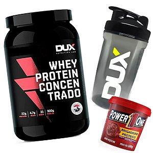 Kit Whey Concentrado Dux + Pasta de Brigadeiro Proteico + Shaker DUX