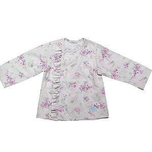 Camisa floral linho babadinhos