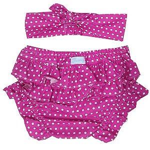 Conjunto calcinha tapa fralda com turbante poá pink