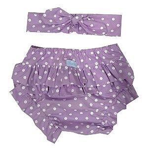 Conjunto calcinha tapa fralda com turbante poá lilás