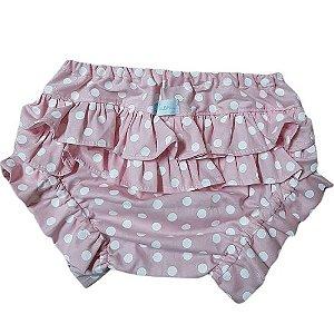 Calcinha tapa fralda poá rosa bebê