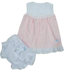 Vestido bata poá rosinha