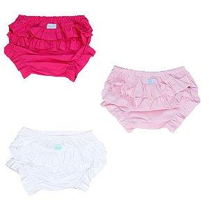 Kit promocional calcinha tapa fralda rosa bebê, pink, branca