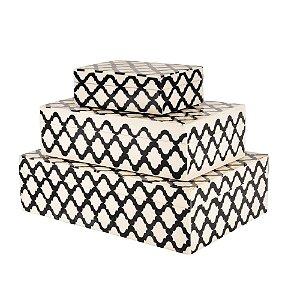 Conjunto de Caixas Osso Preto e Branco
