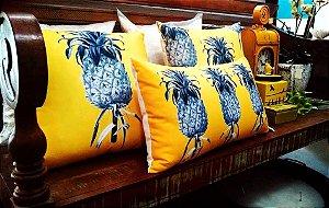 Almofadas de Linho Estampado - Abacaxi