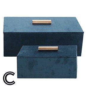 Conjunto Porta Jóias de Veludo Azul e Puxador Dourado