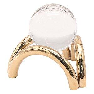Peça Decorativa de Cristal e Metal Dourado