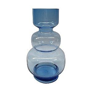 Vaso Vidro Azul Gomos Transparente M