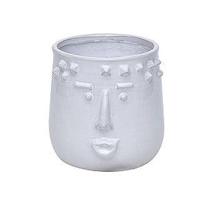 Vaso Cerâmica Rosto Branco