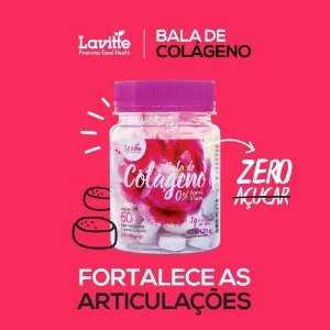Bala de Colageno Sabor Morango
