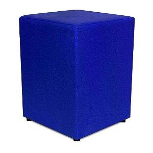 Puff Decorativo Quadrado Corino Azul 45x34x34cm Orthovida