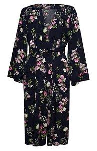 Kimono Floral Marinho e Rosa