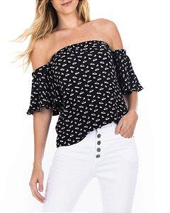 Blusa Lili Preto com Branco Estampada