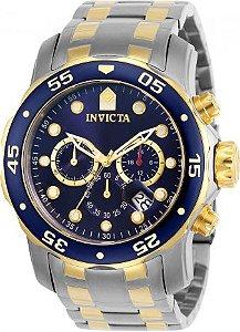 Relógio Invicta Pro Diver 0077 Misto Aço Inox com Banhado Ouro 18k Cronografo 48mm