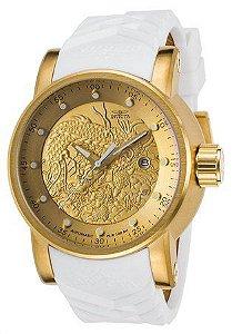 Relógio Invicta S1 Yakuza 19546 Branco Original Banhado Ouro 18k 48mm