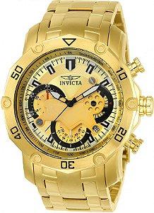 Relógio Invicta Pro Diver 22761 Banhado Ouro 18k Cronografo 50mm
