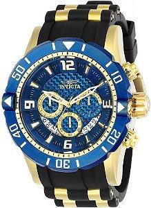 Relógio Invicta Pro Diver 23704 Azul 50mm Cronografo Banhado Ouro 18k