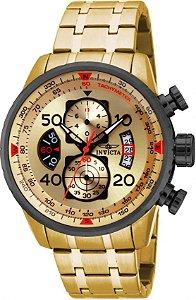 Relógio Invicta Aviator 17205 Banhado Ouro 18k Cronografo 48mm