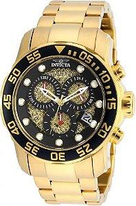 Relógio Invicta Pro Diver 19837 Banhado Ouro 18k Cronografo 48mm