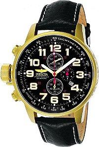 Relógio Invicta I Force 3330 Cronografo Pulseira Couro 46mm B. Ouro 18k