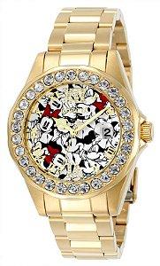 Relógio Invicta Feminino Disney Collection 24419 B. Ouro 18k W/R 100m