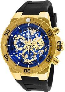 Relógio Invicta Pro Diver 26071 Skeleton Cronografo 51.5mm Banhado Ouro 18k