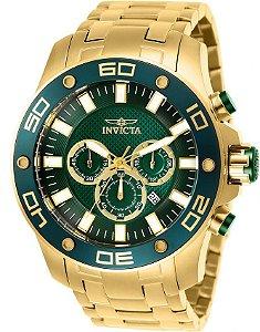 Relógio Invicta Pro Diver 26077 Cronografo 50mm Banhado Ouro 18k