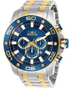 Relógio Invicta Pro Diver 26082 Aço Inoxidável 50mm Detalhes Dourados Cronografo