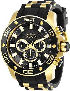 Relógio Invicta Pro Diver 26086 Aço Inoxidável 50mm Banhado Ouro 18k Cronografo