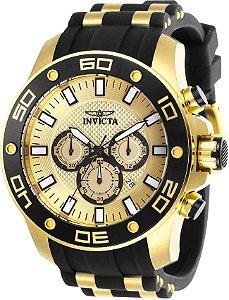 Relógio Invicta Pro Diver 26088 Aço Inoxidável 50mm Banhado Ouro 18k Cronografo