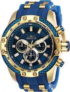 Relógio Invicta Speedway 25941 Cronografo 50mm Banhado Ouro 18k VD54 Azul