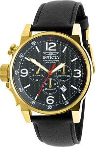 Relógio Invicta I Force 20135 Cronografo Pulseira de Couro 46mm B. Ouro 18k