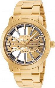 Relógio Invicta Object d' Art 25270 Original Mostrador Transparente Banhado Ouro 18k