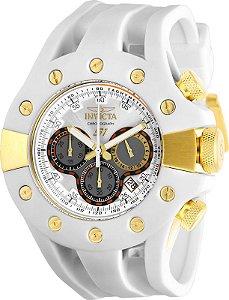 Relógio Invicta S1 Rally 28571 Cronografo 49mm Banhado Ouro 18k Branco