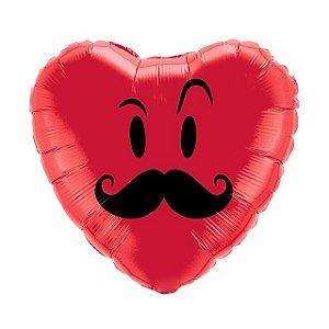 Balão Metalizado Coração com Bigode