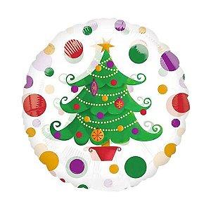 Balão Metalizado Redondo Árvore de Natal