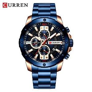 Relógio Masculino Dourado Azul Esportivo Militar Curren