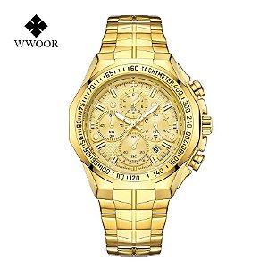 Relógio Masculino Dourado Prata Campeão Militar WWOOR DR
