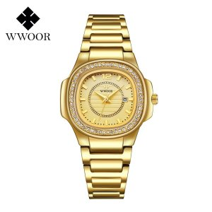 Relógio feminino dourado prata pequeno quadrado WWOOR 8874DP