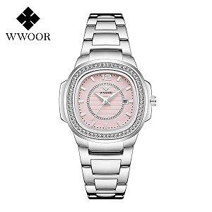 Relógio feminino prata rosa pequeno quadrado WWOOR 8874PR