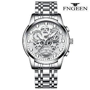 Relógio Masculino Esqueleto Prata Branco Campeão FNGEEN 4088