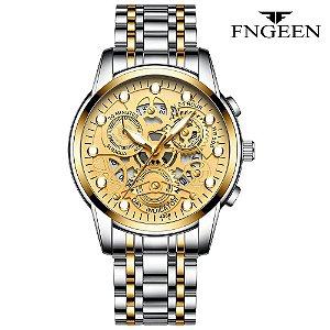 Relógio Masculino Esqueleto Prata Dourado Campeão FNGEEN 4088